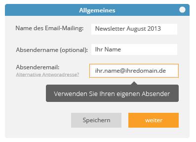 Newsletter erstellen mit eigener Absenderadresse